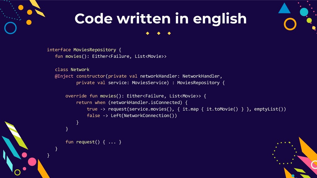 Code written in english interface MoviesReposit...