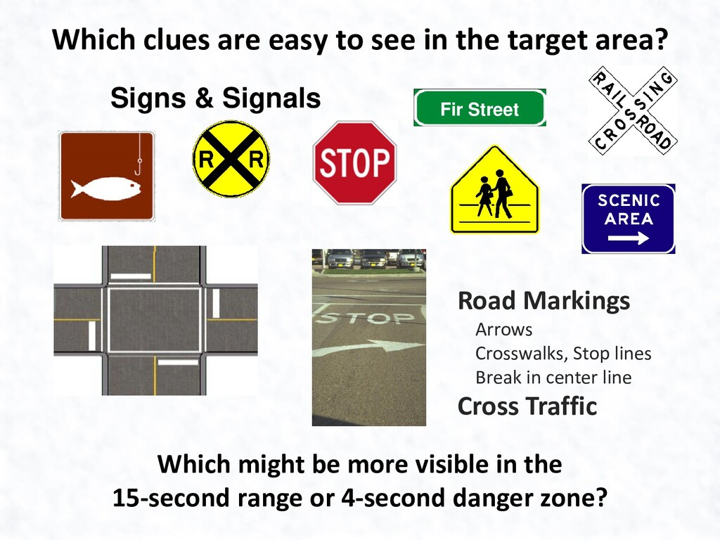 Which clues are easy to see in the target area?...