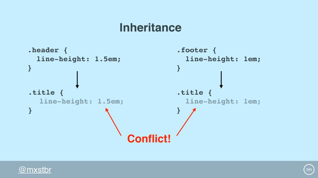 @mxstbr .header { line-height: 1.5em; } .title ...