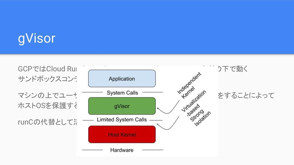 gVisor GCPではCloud RunやCloud Function, Google Ap...