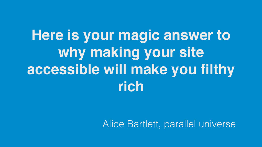 Alice Bartlett, parallel universe Here is your ...
