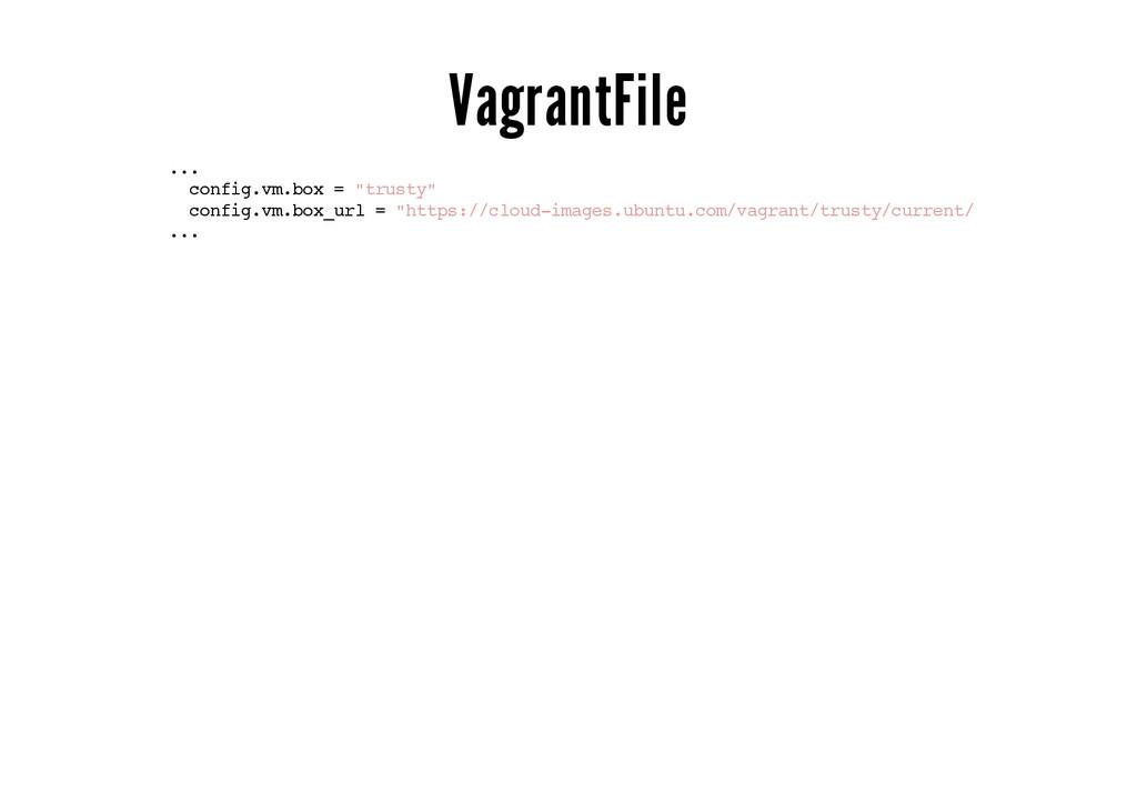 """VagrantFile ... config.vm.box = """"trusty"""" config..."""