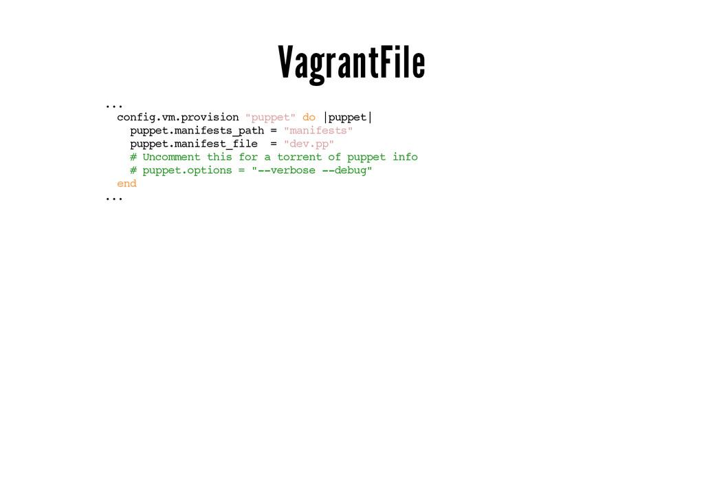 "VagrantFile ... config.vm.provision ""puppet"" do..."
