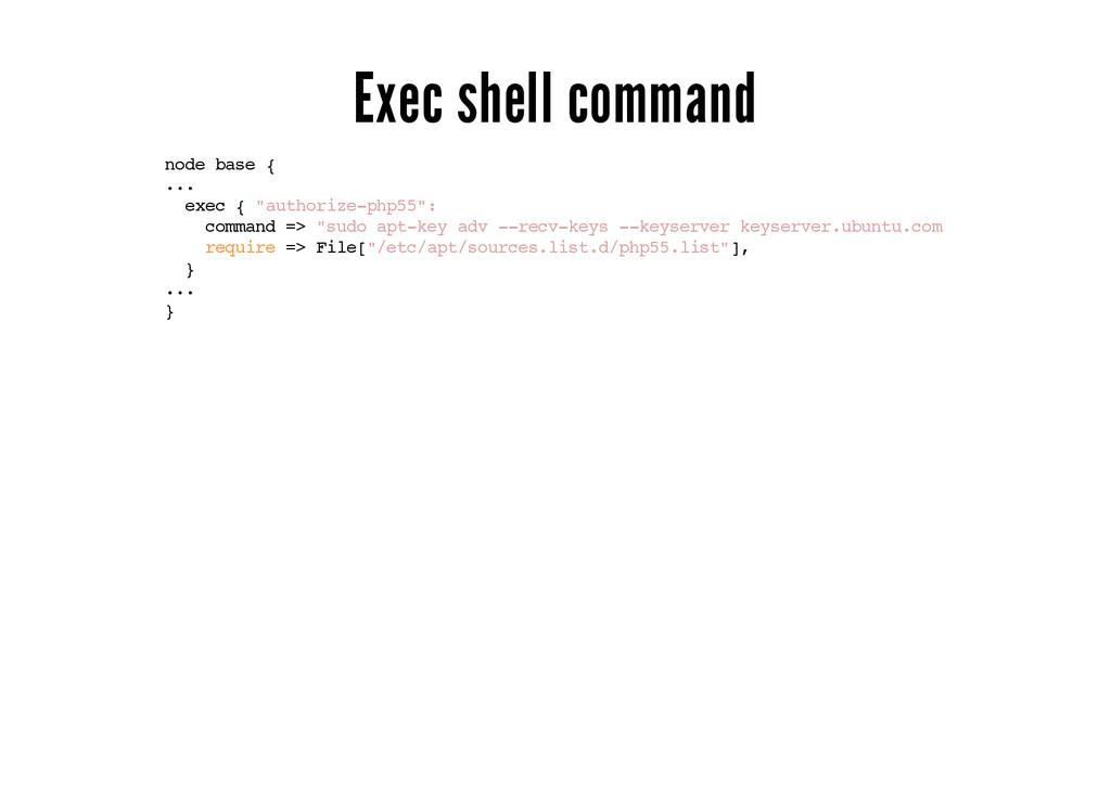 """Exec shell command node base { ... exec { """"auth..."""