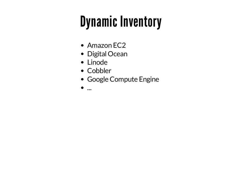 Dynamic Inventory Amazon EC2 Digital Ocean Lino...