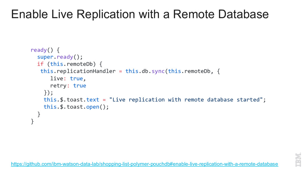 Enable Live Replication with a Remote Database ...