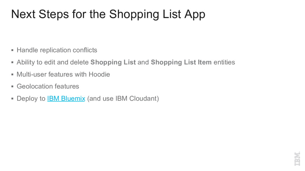 Next Steps for the Shopping List App §  Handle ...