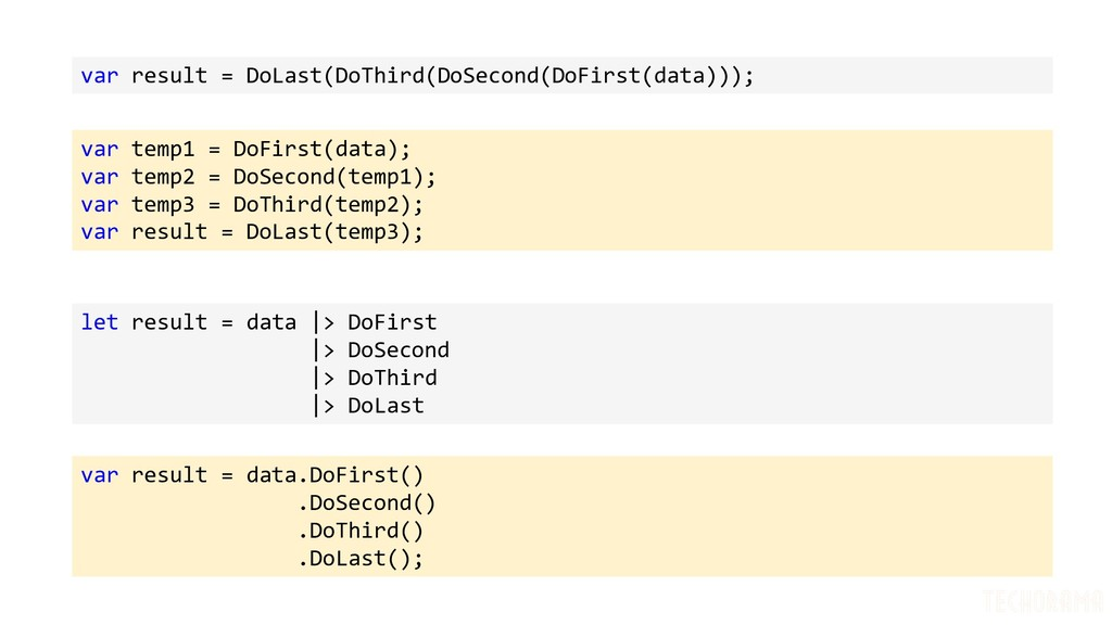 var result = DoLast(DoThird(DoSecond(DoFirst(da...