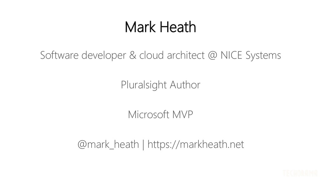 Mark Heath Software developer & cloud architect...