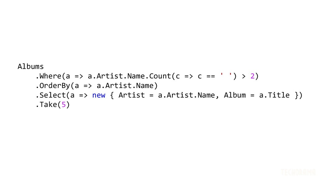Albums .Where(a => a.Artist.Name.Count(c => c =...