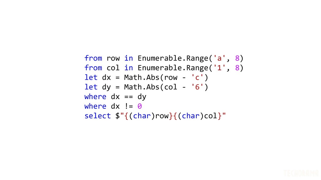 from row in Enumerable.Range('a', 8) from col i...