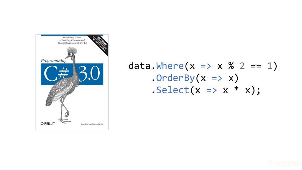 data.Where(x => x % 2 == 1) .OrderBy(x => x) .S...