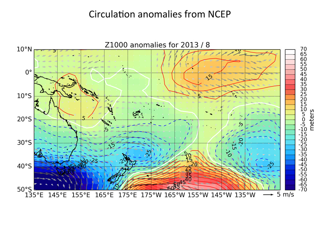 Circula2on anomalies from NCEP