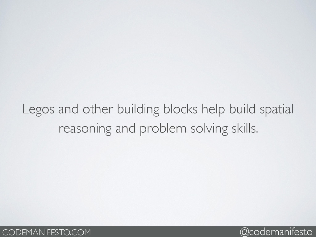 Legos and other building blocks help build spat...