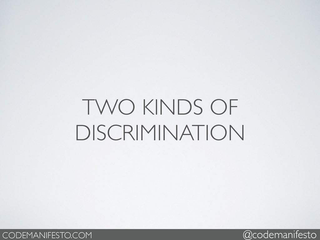 TWO KINDS OF DISCRIMINATION CODEMANIFESTO.COM @...