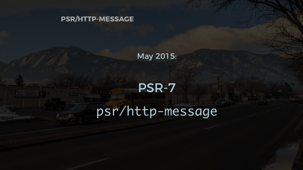PSR/HTTP-MESSAGE May 2015: PSR-7 psr/http-messa...