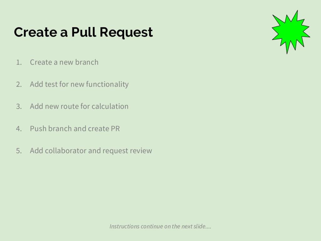 Create a Pull Request 1. Create a new branch 2....