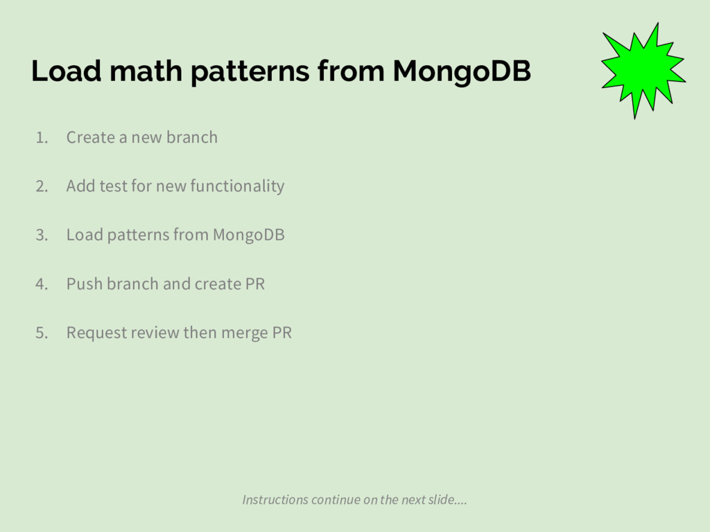 Load math patterns from MongoDB 1. Create a new...