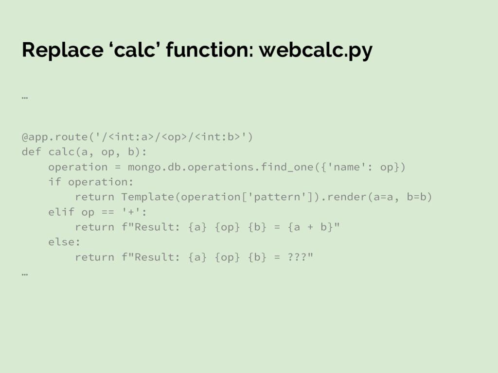 Replace 'calc' function: webcalc.py … @app.rout...