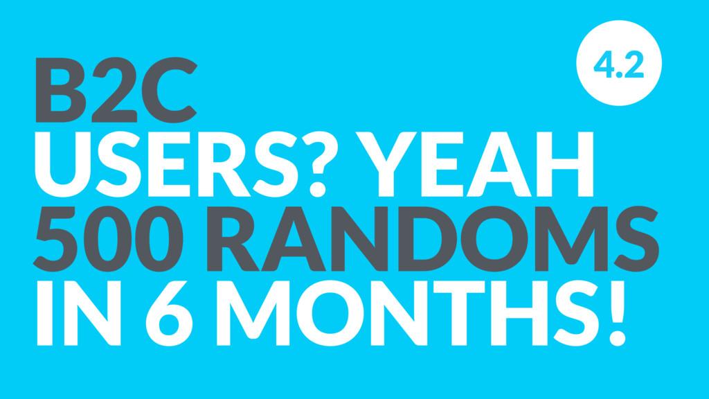 B2C USERS? YEAH 500 RANDOMS IN 6 MONTHS! 4.2