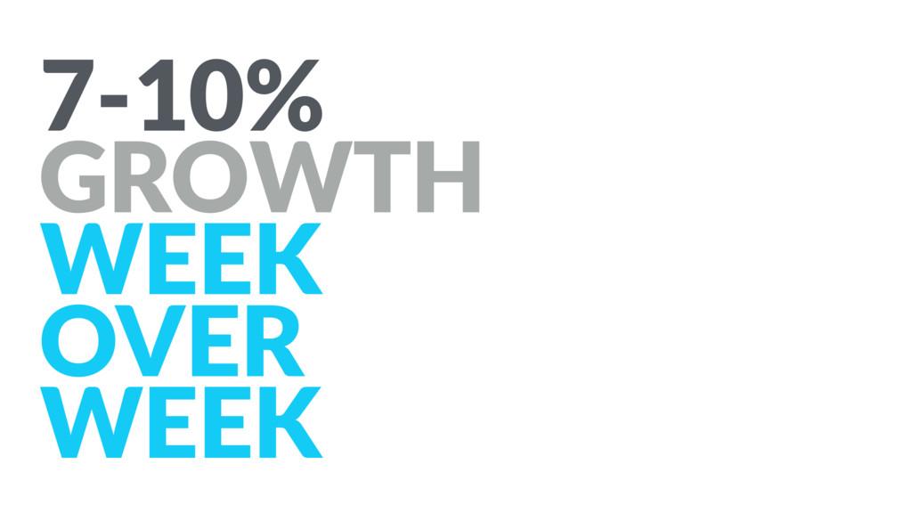 7-10% GROWTH WEEK OVER WEEK