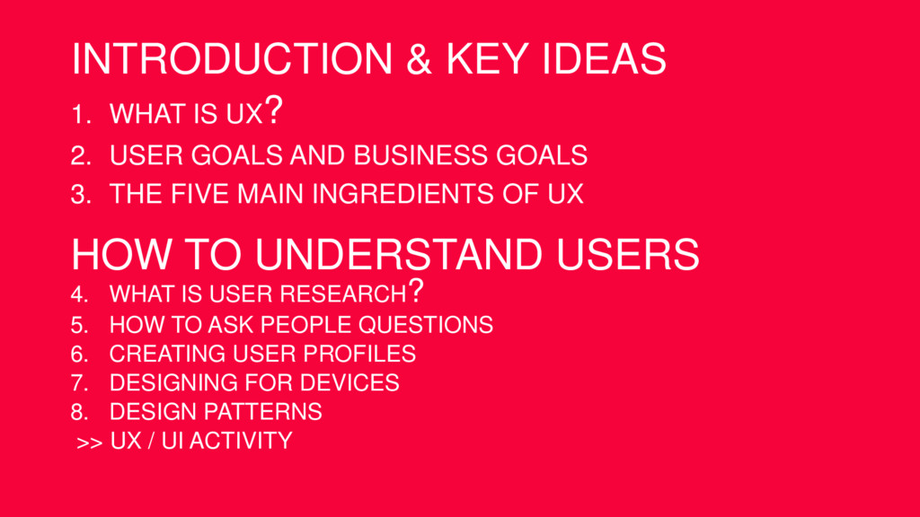 INTRODUCTION & KEY IDEAS 1. WHAT IS UX? 2. USER...