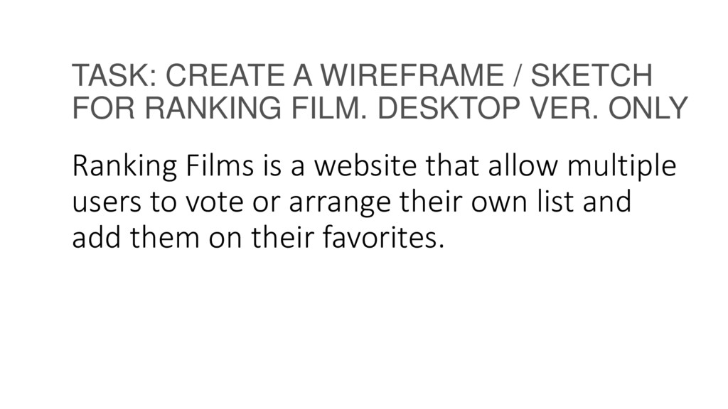 TASK: CREATE A WIREFRAME / SKETCH FOR RANKING F...