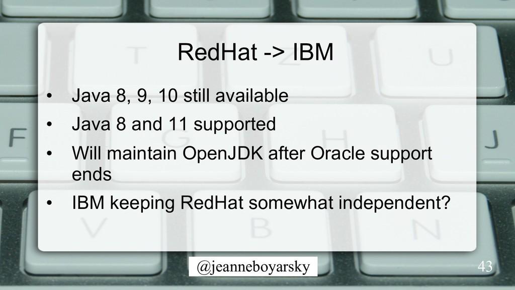 @jeanneboyarsky 43 RedHat -> IBM • Java 8, 9, ...