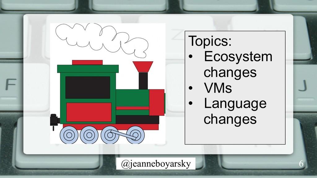 @jeanneboyarsky Topics: • Ecosystem changes •...