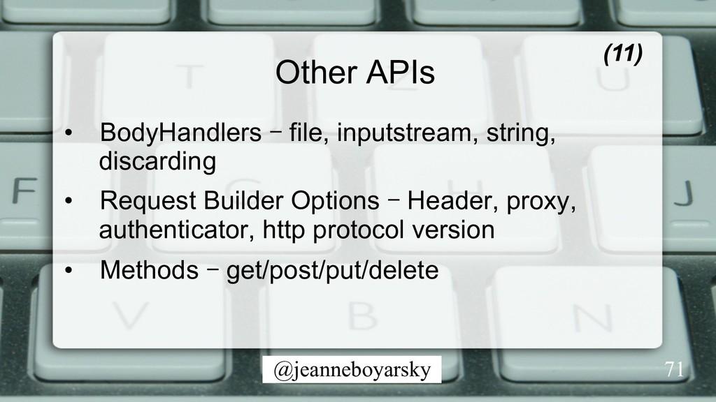 @jeanneboyarsky Other APIs • BodyHandlers – fi...