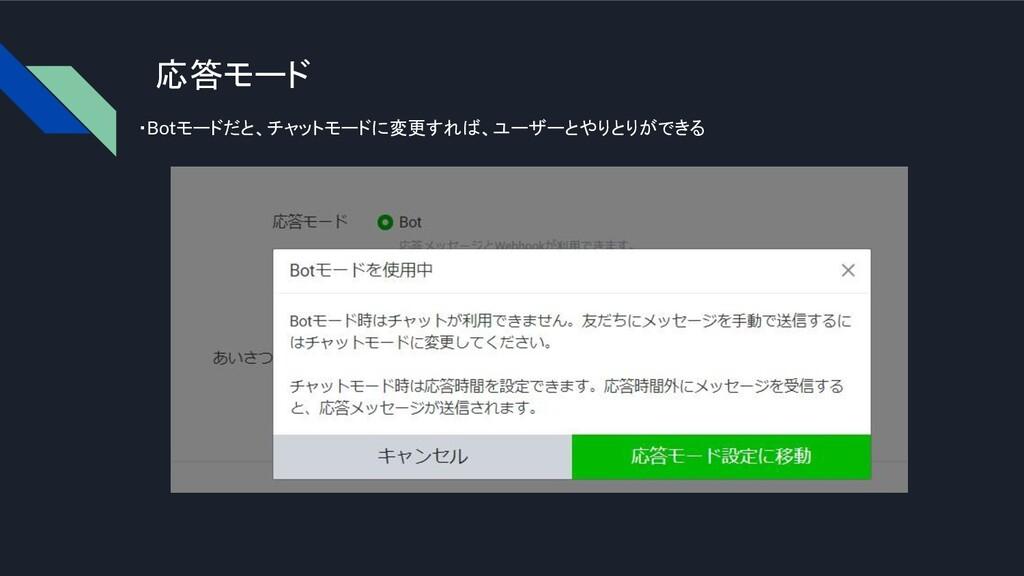 応答モード ・Botモードだと、チャットモードに変更すれば、ユーザーとやりとりができる