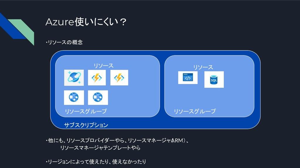 Azure使いにくい? ・リソースの概念 ・他にも、リソースプロバイダーやら、リソースマネージ...