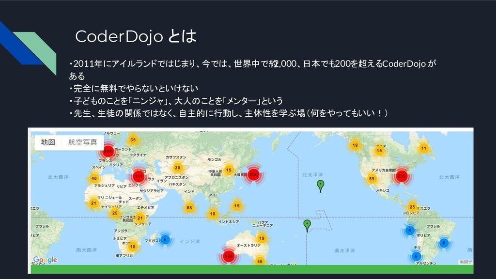 CoderDojo とは ・2011年にアイルランドではじまり、今では、世界中で約 2,000...
