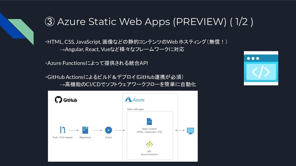 ③ Azure Static Web Apps (PREVIEW) ( 1/2 ) ・HTML...