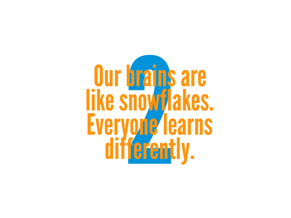 2 Our brains are like snowflakes. Everyone lear...