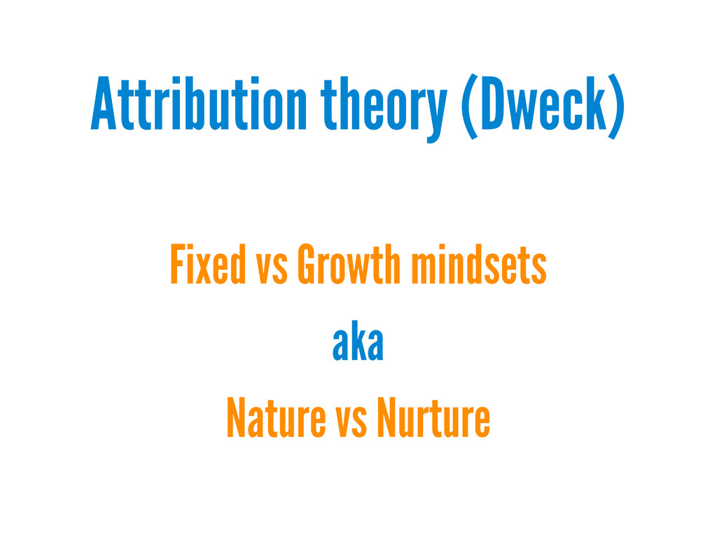 Attribution theory (Dweck) Fixed vs Growth mind...
