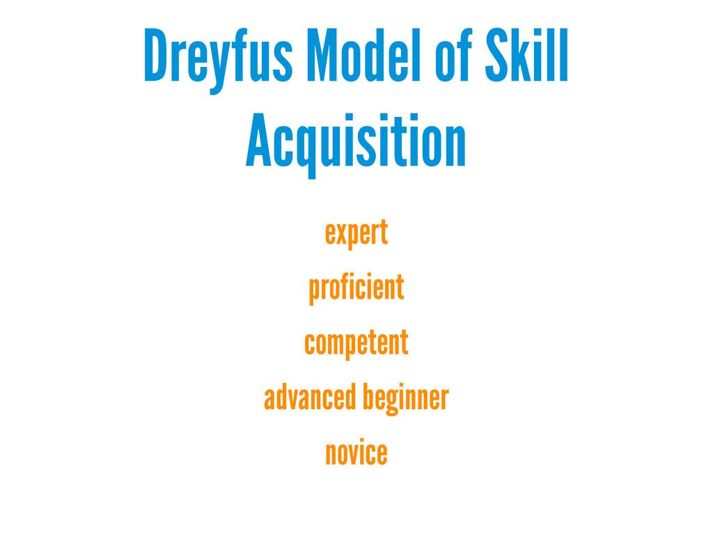 Dreyfus Model of Skill Acquisition expert profi...