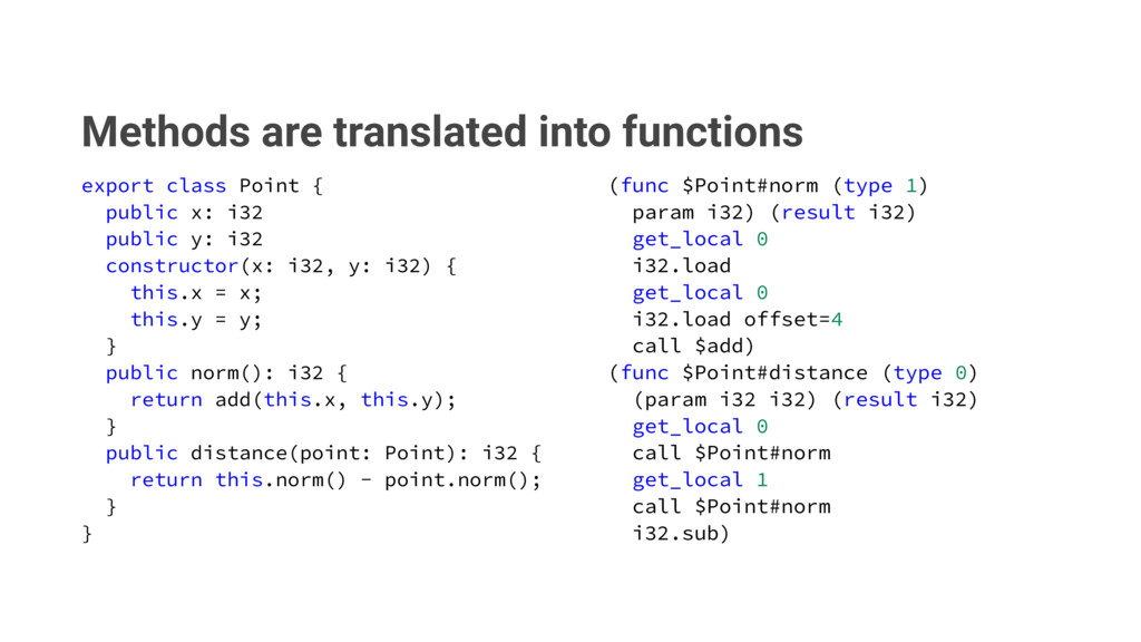 Methods are translated into functions FYQPSUDM...