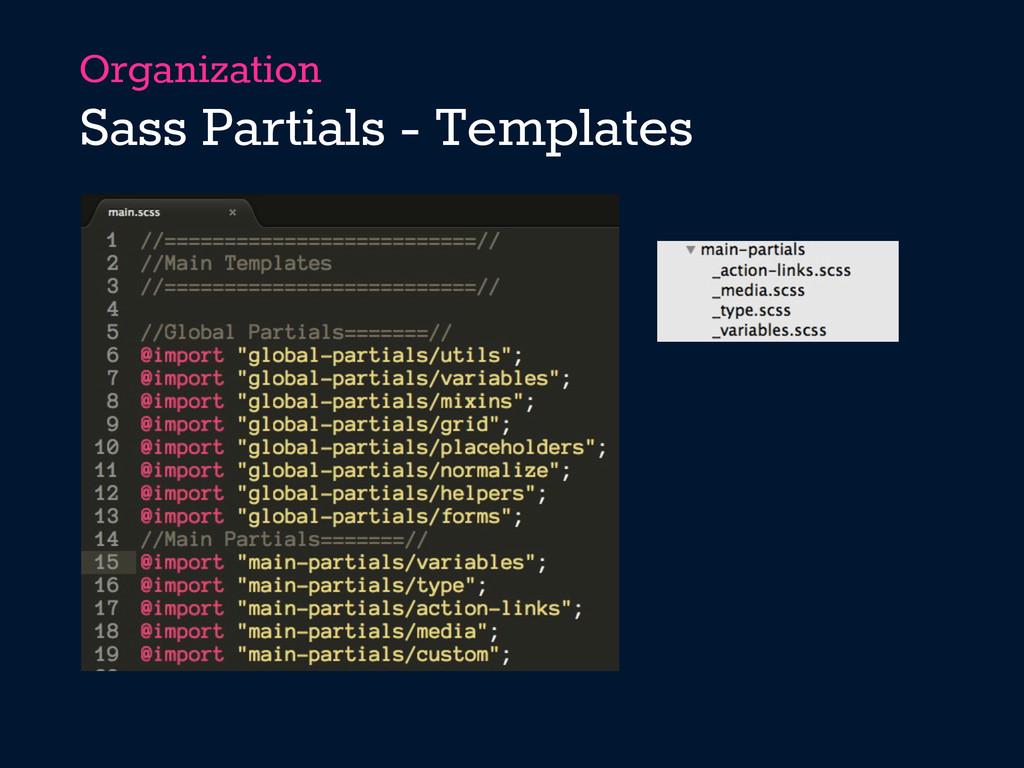 Organization Sass Partials - Templates