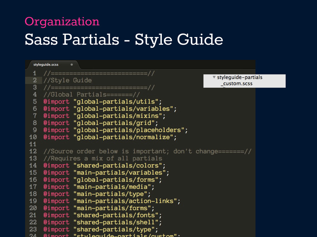 Organization Sass Partials - Style Guide