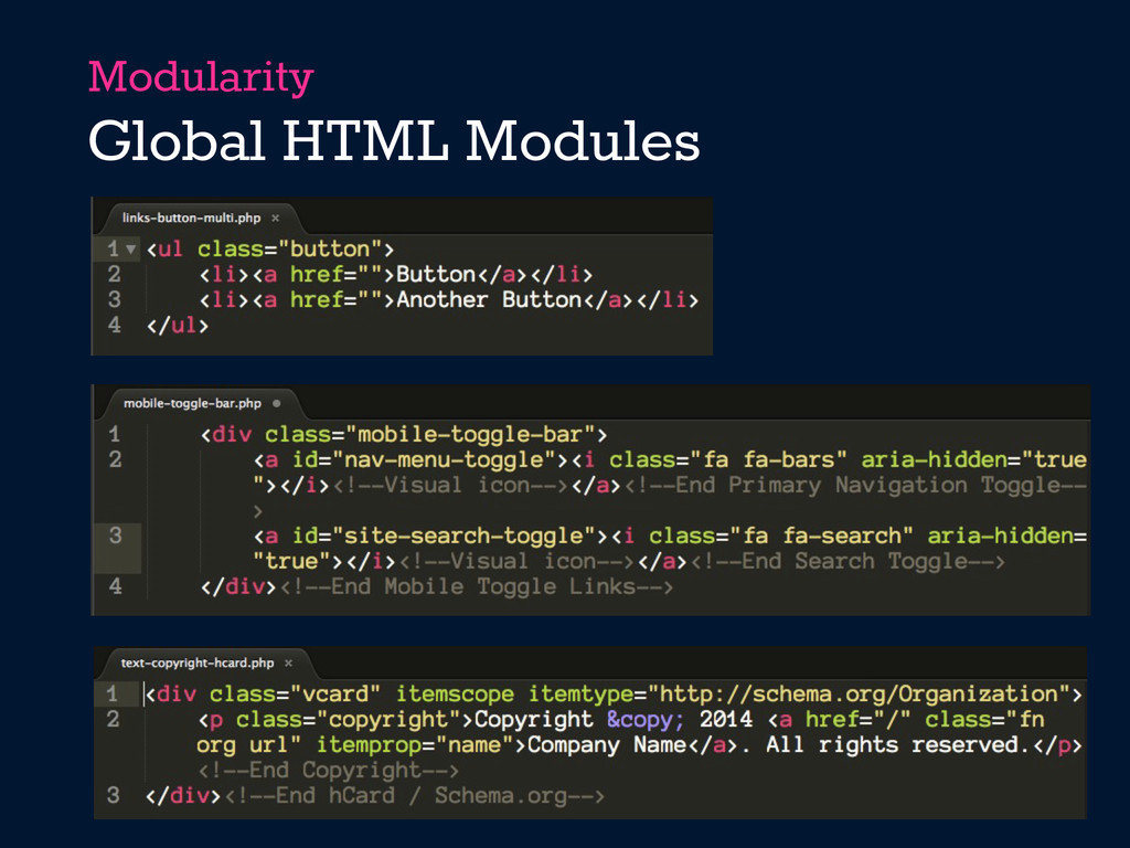 Modularity Global HTML Modules