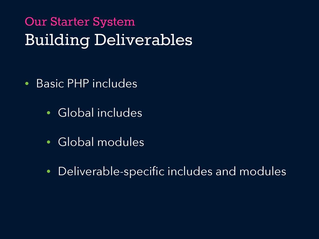 Our Starter System Building Deliverables • Basi...