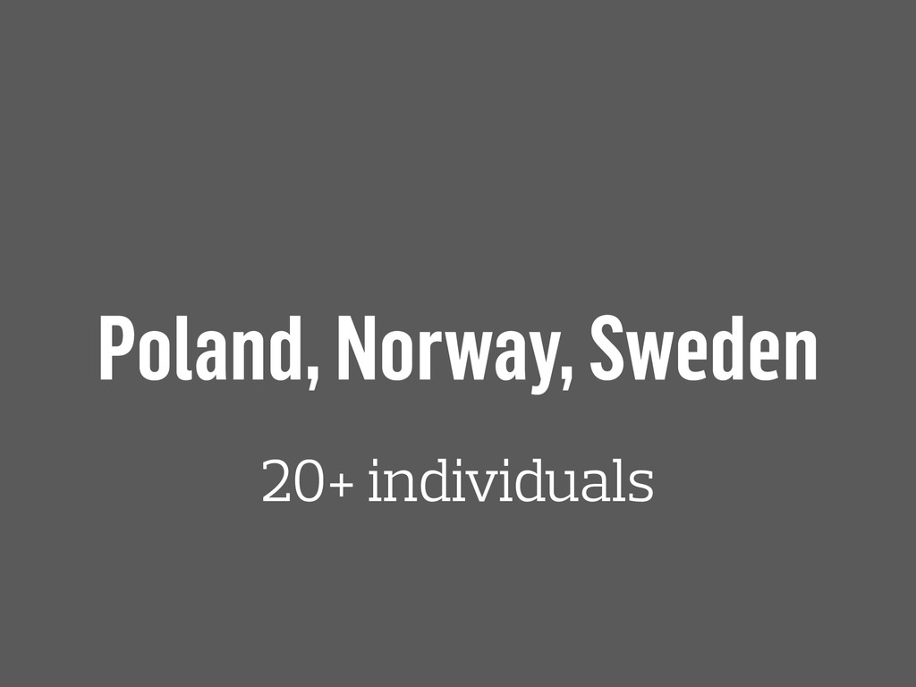 Poland, Norway, Sweden 20+ individuals