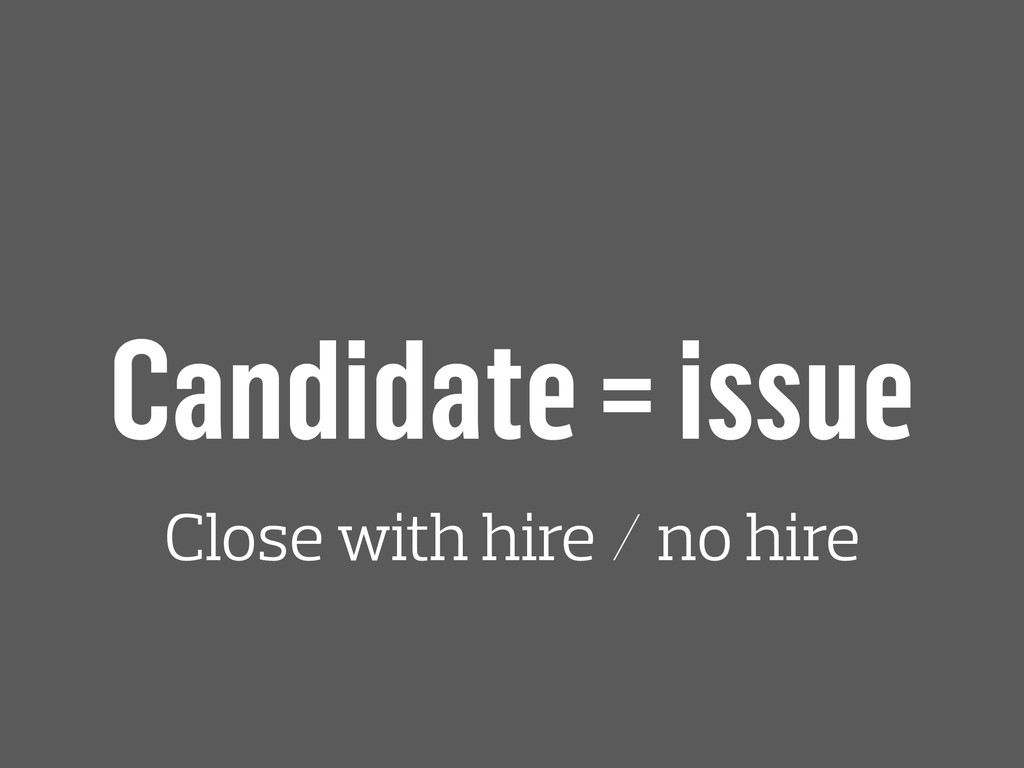 Candidate = issue Close with hire / no hire