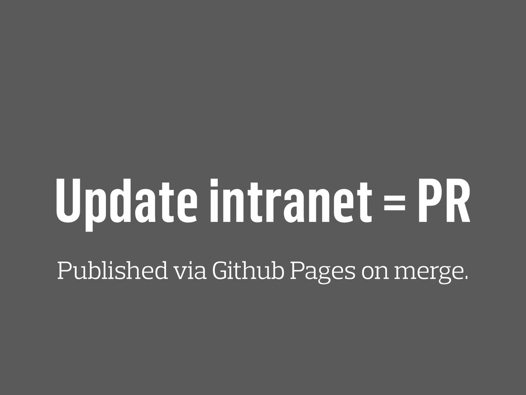 Update intranet = PR Published via Github Pages...