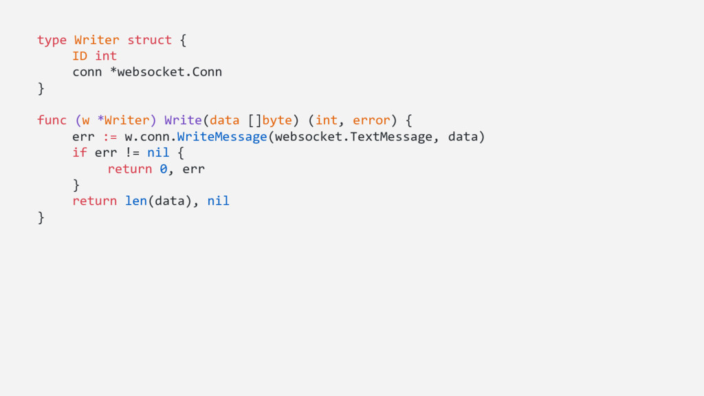 type Writer struct { ID int conn *websocket.Con...