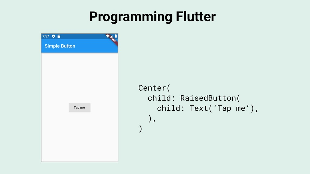 Programming Flutter Center( child: RaisedButton...