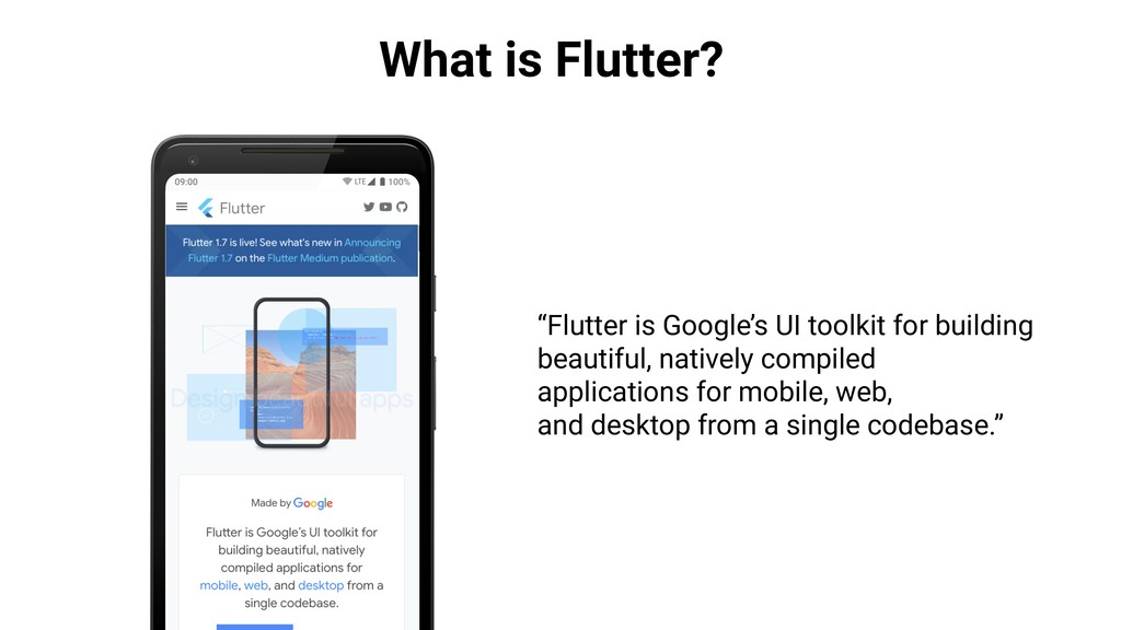 "What is Flutter? ""Flutter is Google's UI toolki..."