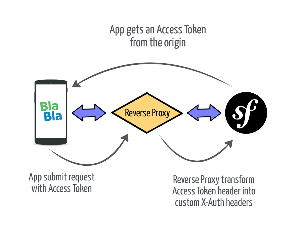 App gets an Access Token from the origin Revers...