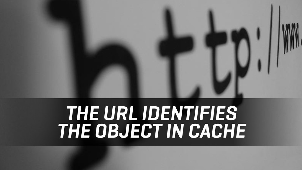 THE URL IDENTIFIES THE OBJECT IN CACHE